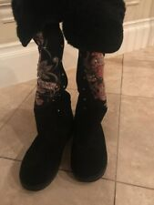 """Women's Ed Hardy Black Suede/fur """"Love Kills"""" Knee High Boots With Crystals Sz 8"""