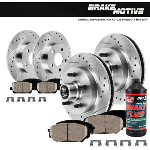 Front Rear Drill Slot Brake Rotors And Ceramic Pads For Expedition F150 2WD RWD