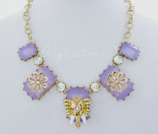 Betsey Johnson Elephant and Flower Purple Bead Gold-Tone Frontal Necklace