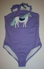 New Hanna Andersson Girls 160 14 year Swimsuit 1 Piece Purple with White Horse