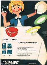 PUBLICITE ADVERTISING 105  1959  DURALEX SAINT-GOBAIN vaisselle couleur   181015