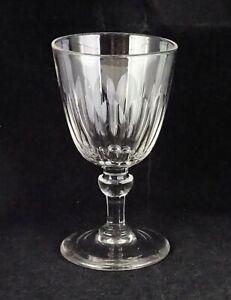 Antique Crystal Wine Goblet Cut Panel Pattern Smooth Pontil