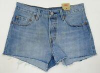 New Levis Iconic 501 Womens Button Fly Blue Raw Hem Mid Rise Denim Shorts Sz 27
