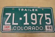 Vintage american Colorado trailer number plate green & white c1984.