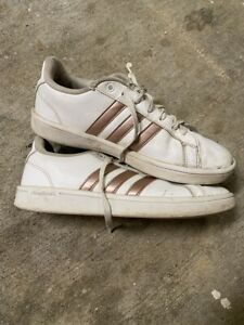Adidas Cloudfoam Advantage Women's Tennis Shoes Size 7 white/rose gold