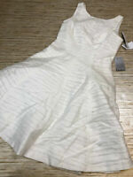 MM-49 Maggy London Sleeveless Jacquard Fit and flare dress WHITE size 4 nwt $178