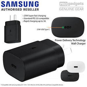Genuine Original SAMSUNG Fast 25W USB C Wall Charger for Galaxy S21/Plus/Ultra
