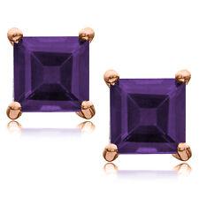 Amethyst Princess Cut Stud Earrings in Rose Gold Plated Sterling Silver 5x5mm