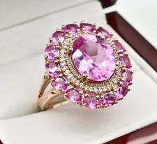 4.00ctw Vivid Pink Sapphire & Diamond Cut Topaz 14k Rose Gold Sterling Ring Sz8