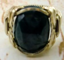 Natural Emerald 15 carat Artisan Ring 14k gf gold mens / ladies Handmade