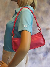 SIGRID OLSEN Hot Pink Leather Shoulder Bag Zip Top Top Stitched Seams Small