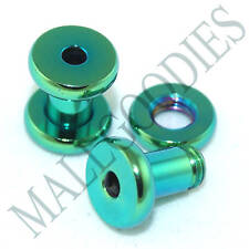 Tunnels 6 Gauge 6G 4mm Plugs 0531 Surgical Steel Green Color Screw-on/fit Flesh