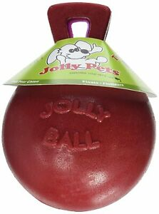 Jolly Pets Tug-N-Toss 4.5 inch Red   Rubber Ball with Handle Chew Toy for Dogs