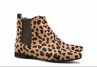 Tory Burch Women's Orsay Leopard Calf Hair Chelsea Ankle Boots Booties Size 6