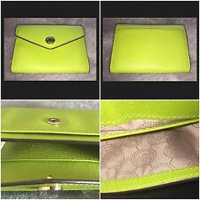 MICHAEL KORS ID Coin Leather Wallet Green 4 Pockets SUMMER SALE!
