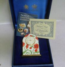 Rare Halcyon Days Brass & Enamel Miniature Clock in Original Box & Papers Mint
