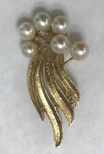 14k Solid Yellow Gold Pearl Brooch/Pin