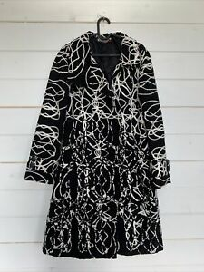 DESIGUAL Coat Embroidered Black White Women's Size 44