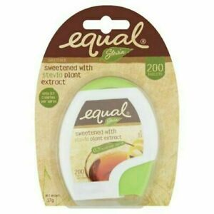 Equal Stevia Sweetened With Stevia Plant Extract 0.3 Kcal Per Serve 200 Tablets