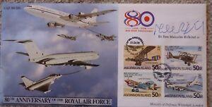 FDC MP Signed Malcolm Rifkind, RAF 80th Anniv,COA 216 of 250,1 Apr 98, Ascension