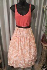 VINTAGE Style 50'S ~ Apricot/Melon  BLOUSE/SKIRT/BELT COMBO * Sz 14 * ROCKABILLY