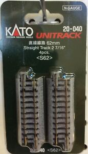 "kato 20-040   2 1/2""   62mm    straight track  New   ( 4 pack )"