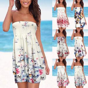 Womens Summer Boho Sexy Bandeau Mini Dress Ladies Beach Holiday Party Sundress