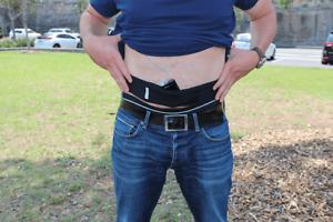 Glucology® Diabetic Insulin Pump Belt   Breathable with pockets   Beige & Black