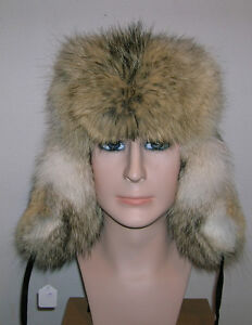 NEW MANS ALASKAN TROOPPER COYOTE FUR HAT MADE IN USA