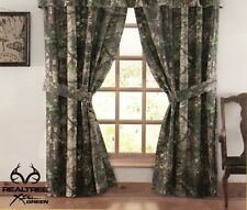 "Realtree Xtra Green Lined Curtains Drapes 42"" x 87"" Camo Rustic Cabin Deer Hunt"