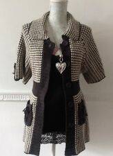 Grey Ivory Check Chunky Knitted 3/4 Sleeve Button Through Hip Length Cardigan