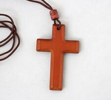 "Christian Wooden Wood Pectoral Cross Pendant with 35"" Rope Cord Necklace Gift B"