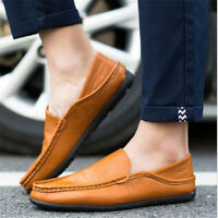 US Men Casual Leather Shoes Flat Loafers Driving Moccasins Slip on Boat  ~ # x