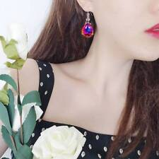 Woman Rainbow Zircon Jewelry Drop Pear-shaped Earrings Wedding Party Earrings