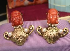 Antique vintage natural pearl carved Asian face scattered pin brooches