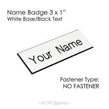 "Name Badge Tag Plate White/Black NO FASTENER 3x1"" Personalised Engraved Namep..."