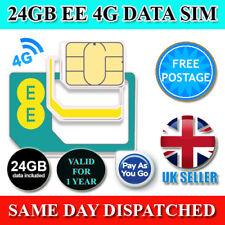 24 GB EE precargado datos Sim pago según el uso 3G/4G Tri-Cut Sim validez de 1 año