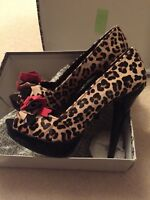 Dune Head Over Heels Size 7 Leopard Print Red Bow