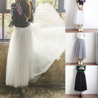 Women 3 Layer Tulle Pleated Long Maxi Dress Tulle Tutu Dress High Waist Skirt US