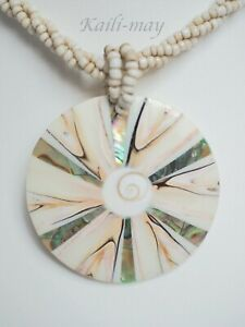 Mother of Pearl Abalone and Shiva Shell Pendant Necklace