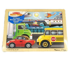 Melissa & and Doug Kids Tray Puzzle ~ VEHICLES On the Go ~ 12pc ~ 3+Yrs ~30x22cm