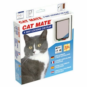 Pet Mate Locking Cat Flap in White with 4 Way Lock 309W
