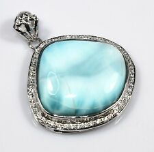 "Natural Rare Larimar Pendant Sterling Silver Ct96 1.85"" Jewelry Gemstone Fashion"