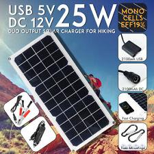 Portable 25W 12V Mono Solar Power Charging Panel Usb Charger For Samsung