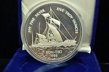 1986 $25 SAMOA THE SINGAPORE MINT KON-TIKI 5 OZ .999 SILVER PROOF W/ CASE