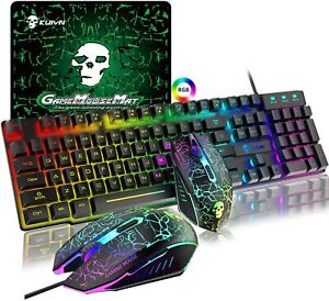Gaming Keyboard and Mouse Set RGB Rainbow Backlit for PC Laptop PS4 PS5 Xbox one