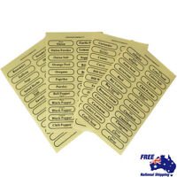 96 x Herb Spice Labels Self Adhesive For Storage Glass Jars Canister Clear Stick