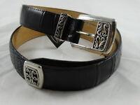 Brighton Black Embossed Moc Croc Leather Belt Sz M/32 Women's Silver tone Buckle