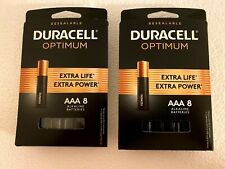 Duracell® Optimum Alkaline AAA Batteries 2 Packs of 8 Extra Life/Extra Power NEW