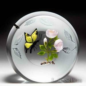 Victor Trabucco 1992 swallowtail butterfly and pink roses upright paperweight